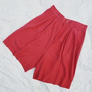 Vintage 100% Silk Red Shorts
